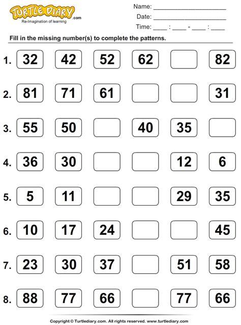 skip count  find  missing numbers worksheet turtle