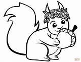 Squirrel Coloring Acorn Printable Squirrels Cartoon Drawing Preschool Mammals Crafts Games Supercoloring sketch template