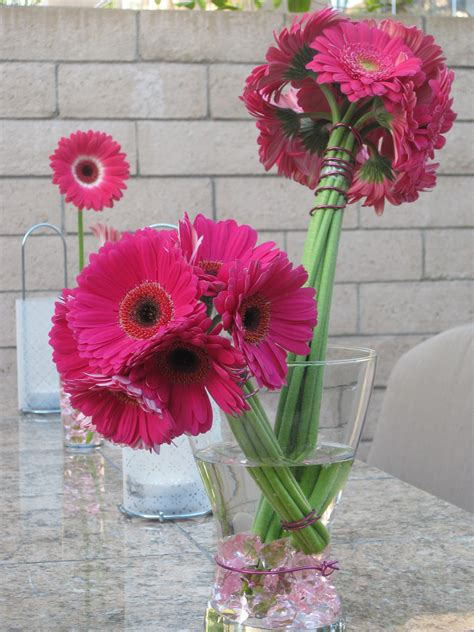 Gerber Daisy Bouquets With Navy Ribbon Rustic Wedding