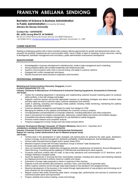 Exle Of Resume Format For by Business Administration Resume Sles Sle Resumes