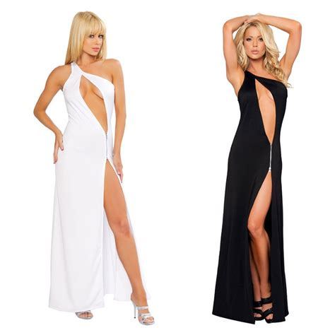 White Black Sex Long Satin Dress Oblique Shoulder Women