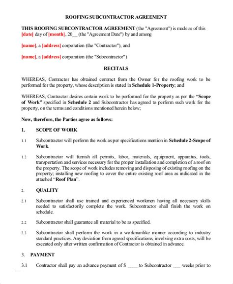Subcontractors Agreement Template by Subcontractor Agreement 11 Free Word Pdf Documents