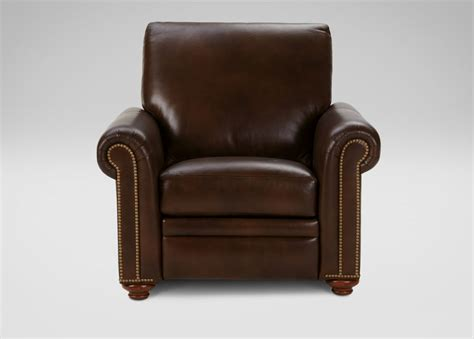conor leather recliner omni brown ethan allen
