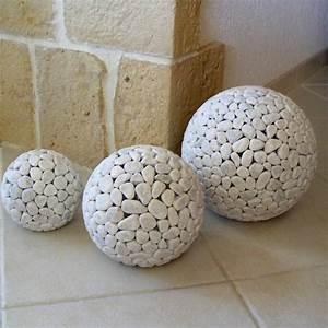 Galet De Decoration : lampe globe en marbre blanc galets deco design ~ Premium-room.com Idées de Décoration