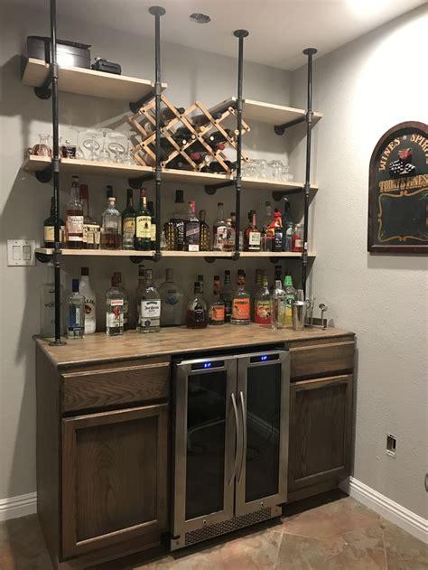 gas pipe shelves  rustic bar diy home bar diy home