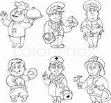 Coloring Professions Job Pages Clipart Doctor Postman Vector Worksheet Career Profession Illustration Fireman Policeman Drawing Sketch Cook Sheets Printable Cartoon sketch template