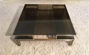 Table Basse En Acier : table basse en acier bross et laiton de guy lefevre tables basses ~ Melissatoandfro.com Idées de Décoration