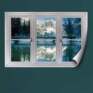 winter at yosemite instant window wall decal shop With faux window wall decal for home