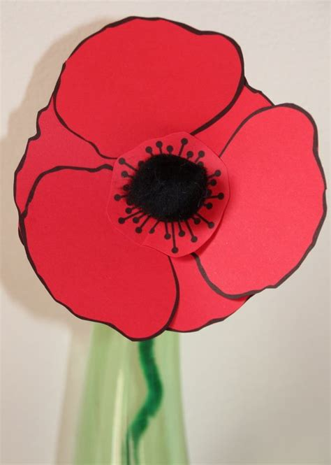 remembrance day poppy craft  kids   printable