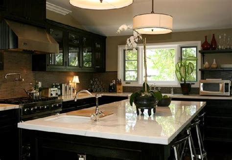 black kitchen cabinets  white marble countertops