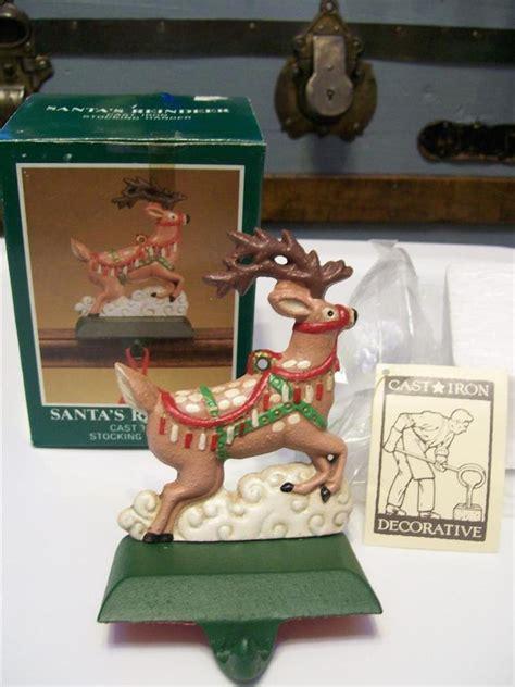 midwest painted cast iron santa s reindeer christmas