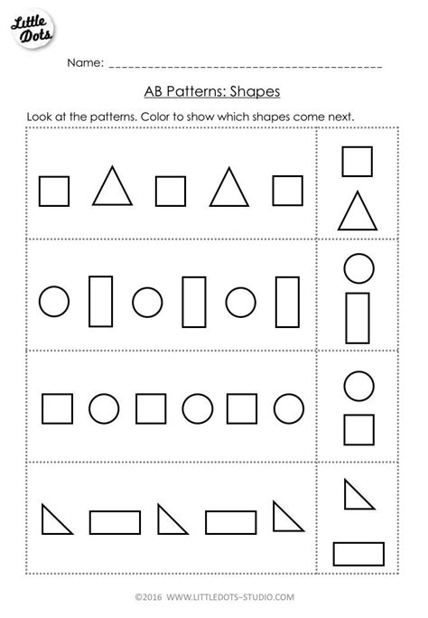 free ab pattern worksheet for pre k continue the ab patterns by coloring which shapes come next