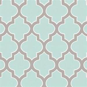 Mint and Taupe Hand Drawn Quatrefoil Fabric by the Yard ...
