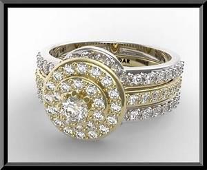 two tone gold halo diamond wedding ring set bridal rings With custom wedding rings sets