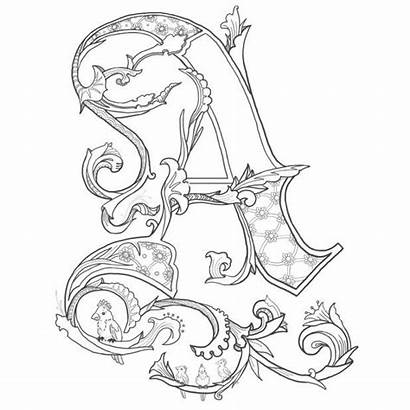 Coloring Pages Fancy Letters Adult