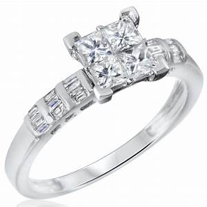 1 ct tw diamond women39s bridal wedding ring set 10k for Ladies diamond wedding ring sets