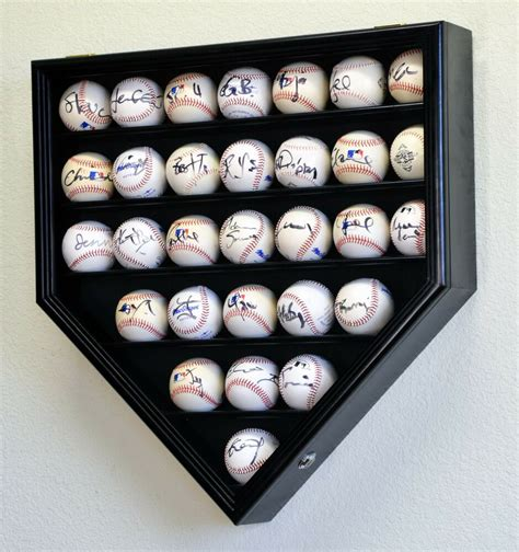 baseball home plate display case wall cabinet holder lockable ultra clear ebay