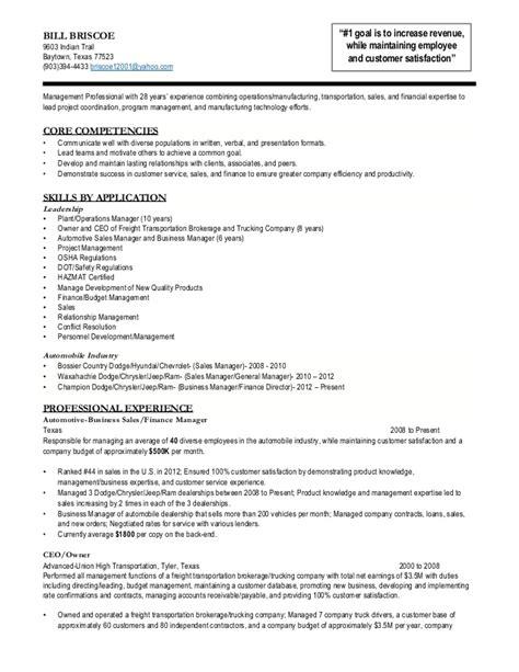 bill briscoe operations transportation management resume