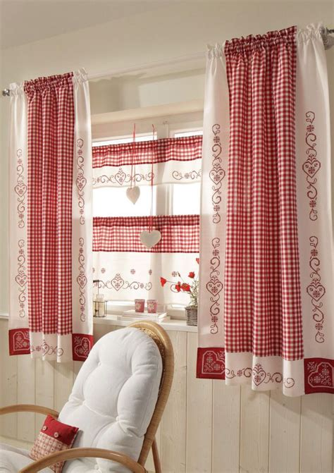 red  white curtains ideas  pinterest red