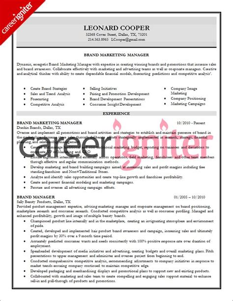 brand manager resume sle official work professional