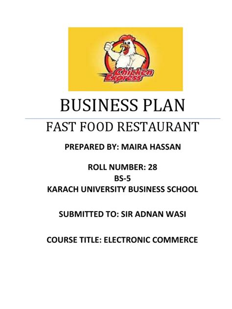 plan cuisine restaurant fast food restaurant business plan fast food fast food