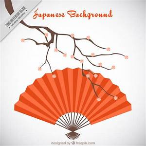 Japanese background with a red fan Vector | Free Download