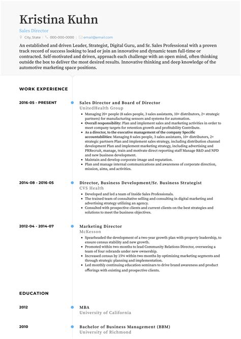 Resume Templates Sales Position by Sales Resume Sles And Templates Visualcv