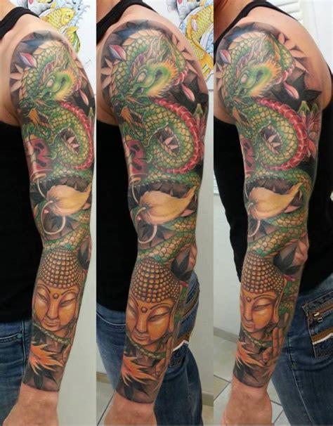 tatouage manchette japonaise avec dragon  bouddha inkage