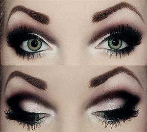 Smoky eye with heavy black dramatic crease eye make up # ...