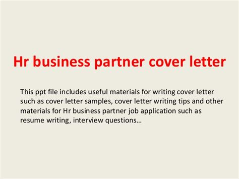 Hr Business Partner Cover Letter Sle by Hr Business Partner Cover Letter