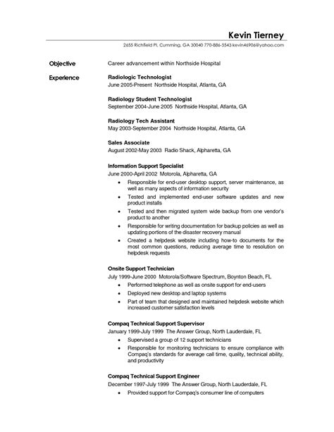 Radiography Resume by Healthcare Resume Sle Radiologic Technologist