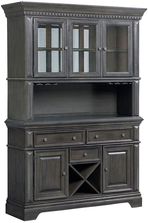 Garrison Burnished Grey Buffet With Hutch From Standard