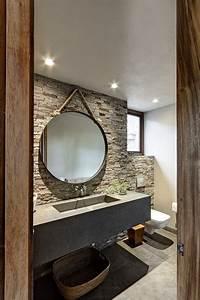 tendencias espejos redondos en banos casa haus decoracion With carrelage adhesif salle de bain avec led pour sac a dos