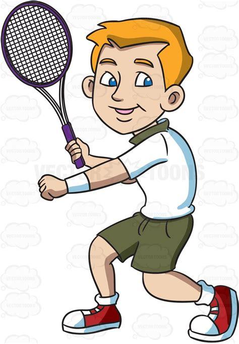 smiling tennis player  ready  hit  forehand winner cartoon clipart vector