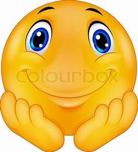 Vector illustration of Thinking emoticon smiley cartoon ...
