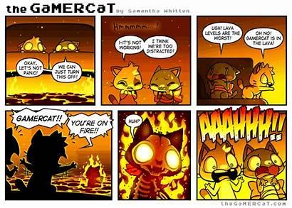 Cat Gamercat Comics Gamer Comic Funny Lava