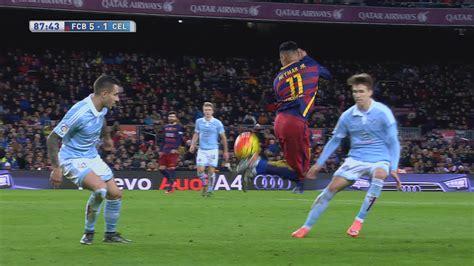 neymar pulls  rainbow flick  barcelona rout