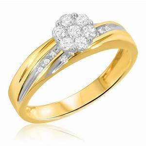 1 4 carat tw diamond ladies39 engagement ring 14k yellow With yellow gold wedding rings with diamonds