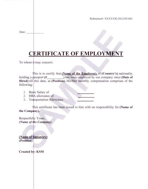 formal sample  certificate  employment  white
