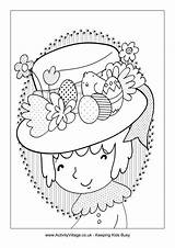 Easter Bonnet Colouring Pages Coloring Activityvillage Drawing Village Activity Printables Happy Explore Medium sketch template