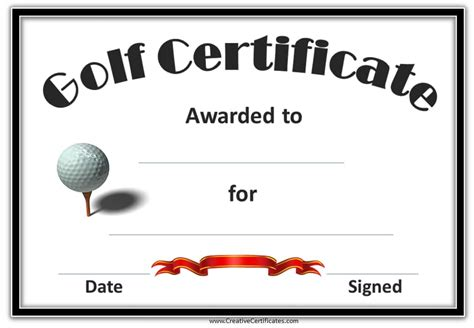 printable golf certificates customizable