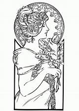 Coloring Nouveau Adults Adult Femme Coloriage Colorare Colouring Adulti Disegni Colorear Dessin Erwachsene Malbuch Fur Mucha Adultos Coloriages Imprimir Adulte sketch template