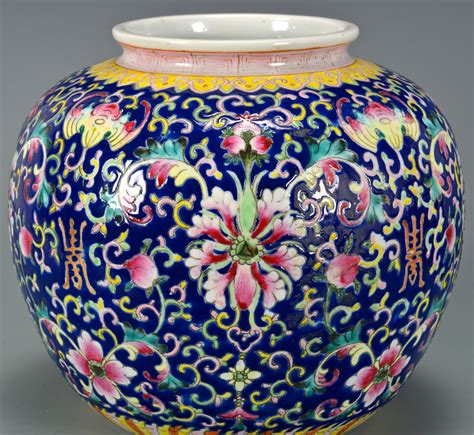 blue ginger jar ls lot 4010069 pr blue enamel ground famille rose ginger jars
