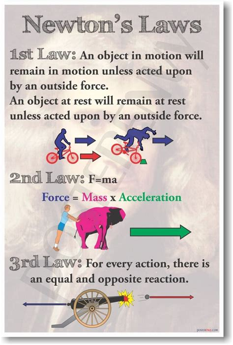 Newton's Laws  New Classroom Physics Science Poster