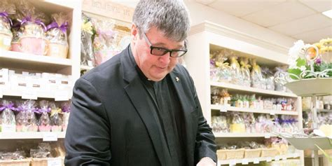 He broke bread with them and enjoyed their company. Catholic priests cook up Easter dinner with grace