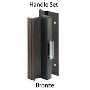 sliding glass patio door handle set bronze wood grain