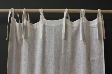 Linen Voile Tie Top Curtain By Pom Pom-off The Cape