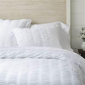 Organic Seersucker Duvet Cover - White | west elm