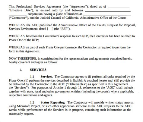 sample professional services agreement templates