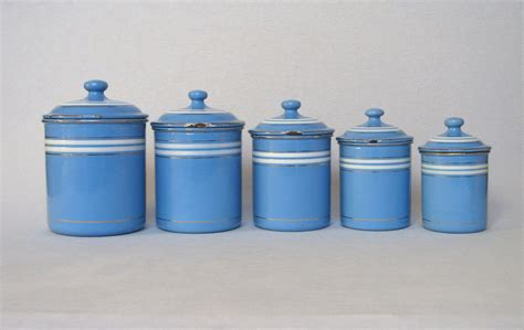 kitchen canisters blue set of sky blue french enamel graniteware kitchen canisters from yesterdaysfrance on ruby lane